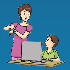 a parent teaching a kid with laptop image