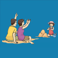 thumb image of parent and child in the beach